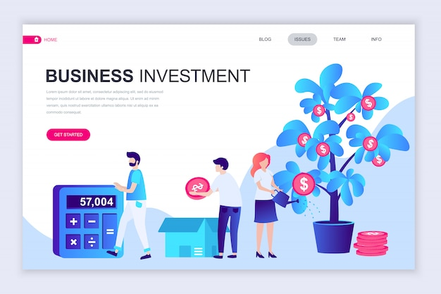 Modello di progettazione di pagina web piatto moderno di investimento aziendale Vettore Premium
