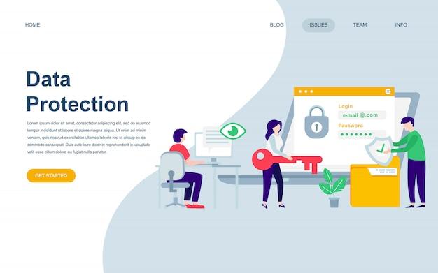 Modello di progettazione di pagina web piatto moderno di protezione dei dati Vettore Premium