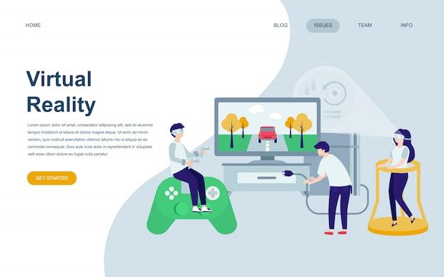 Modello di progettazione di pagina web piatto moderno di realtà virtuale Vettore Premium