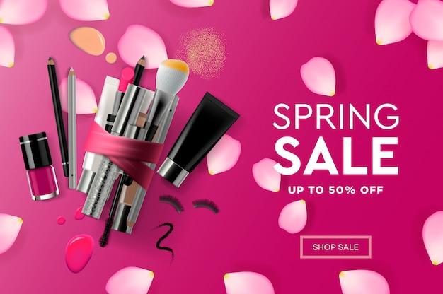 Modello di progettazione di pagine web per cosmetici di vendita di primavera Vettore Premium
