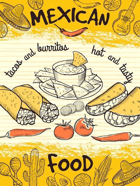 Modello di progettazione di poster con cibo messicano. alimento messicano della bandiera dell'annata, aletta di filatoio dell'insegna del ristorante. Vettore Premium