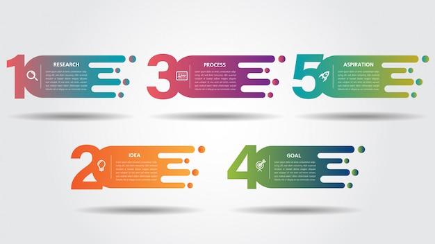 Modello di progettazione di strada business infografica con puntatore pin colorato e 5 numeri opzioni Vettore Premium