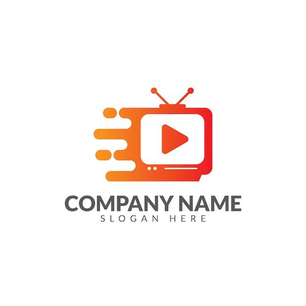 Modello di progettazione di tv veloce logo vettoriale Vettore Premium