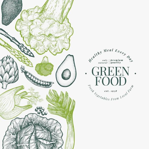 Modello di progettazione di verdure verdi. illustrazione di cibo vegetale stile inciso Vettore Premium
