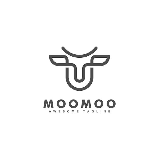 Modello di progettazione di vettore dell'illustrazione di concetto della foglia della mucca Vettore Premium