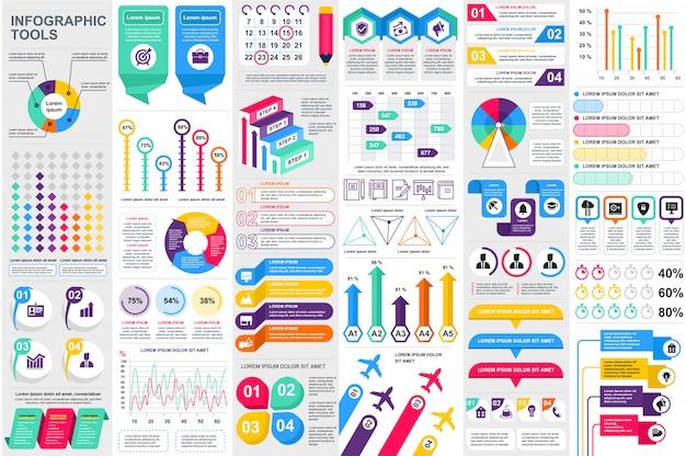 Modello di progettazione di vettore di visualizzazione di dati degli elementi di infographic Vettore Premium