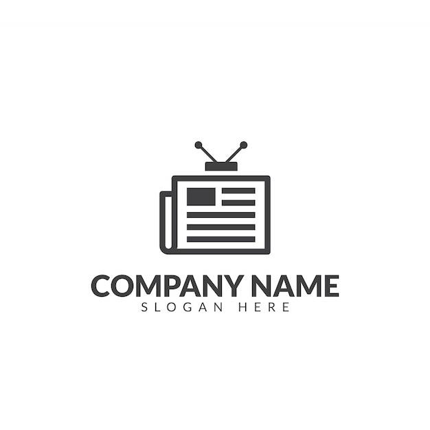 Modello di progettazione di vettore logo giornale di tv Vettore Premium