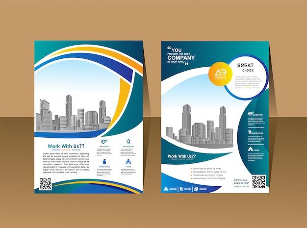 Modello di progettazione di volantini manifesto di rivista profilo aziendale Vettore Premium