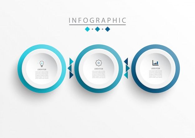 Modello di progettazione etichetta infografica con icone e 3 opzioni o passaggi. Vettore Premium