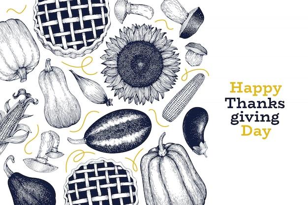 Modello di progettazione felice giorno del ringraziamento. illustrazioni disegnate a mano di vettore saluto carta del ringraziamento in stile retrò. Vettore Premium