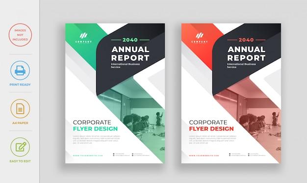 Modello di progettazione flyer aziendale annuale relazione annuale Vettore Premium