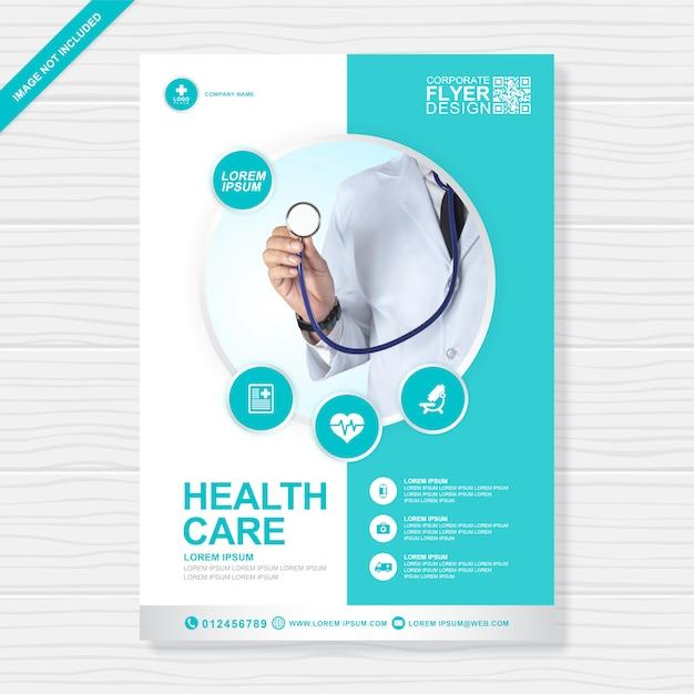 Modello di progettazione flyer sanitario e medico di copertura aziendale a4 Vettore Premium
