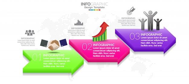 Modello di progettazione infografica con 3 opzioni di colore. Vettore Premium