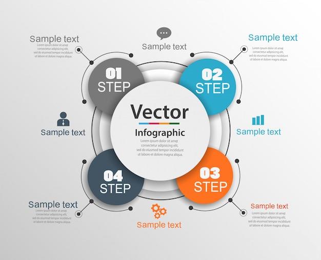 Modello di progettazione infografica con 4 opzioni o passaggi Vettore Premium