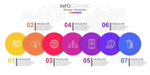 Modello di progettazione infografica con 7 opzioni di colore. Vettore Premium