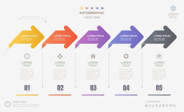 Modello di progettazione infografica con icone, diagramma di processo Vettore Premium
