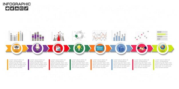 Modello di progettazione infografica con icone e opzioni. Vettore Premium