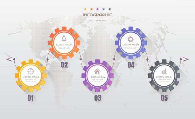 Modello di progettazione infografica con icone Vettore Premium