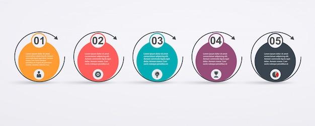 Modello di progettazione infografica con struttura a 5 fasi e frecce. concetto di successo aziendale, linee del grafico a torta. Vettore Premium