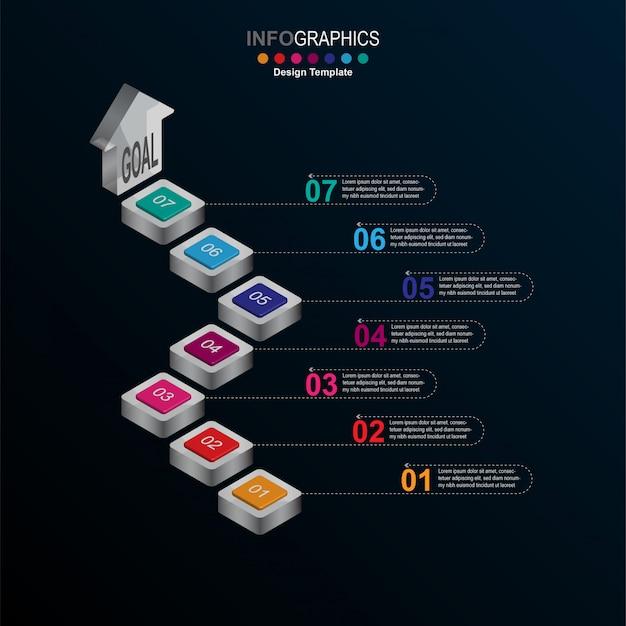 Modello di progettazione infografica creativa Vettore Premium