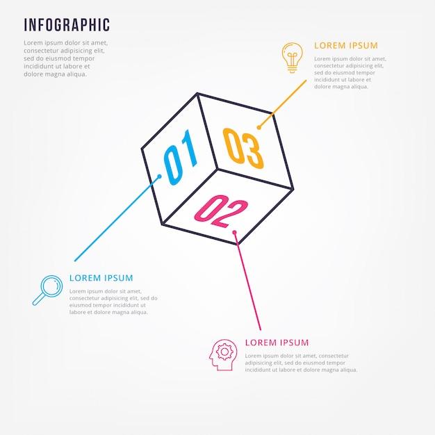 Modello di progettazione infografica minimal di linea sottile Vettore Premium