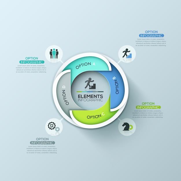 Modello di progettazione infografica rotonda moderna con 4 elementi sovrapposti con lettere Vettore Premium