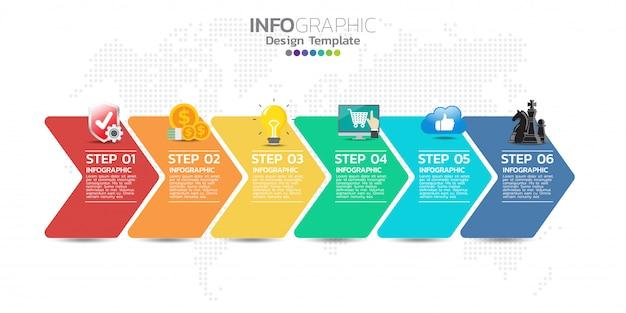 Modello di progettazione infografica timeline con 5 opzioni, diagramma di processo Vettore Premium