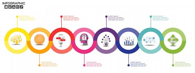 Modello di progettazione infografica timeline con opzioni, diagramma di processo Vettore Premium