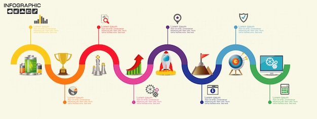 Modello di progettazione infografica timeline con opzioni, diagramma di processo, Vettore Premium