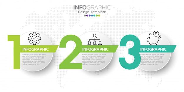 Modello di progettazione infografica tre passaggi. Vettore Premium