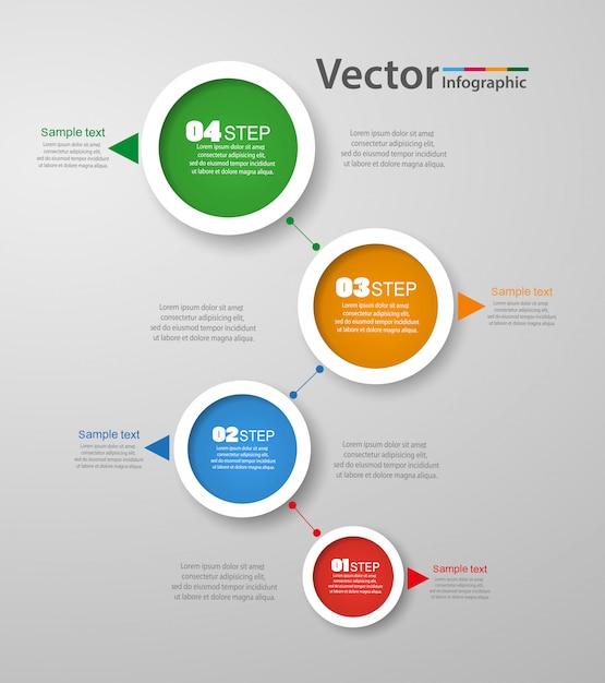 Modello di progettazione infografica vettoriale con 4 passaggi Vettore Premium