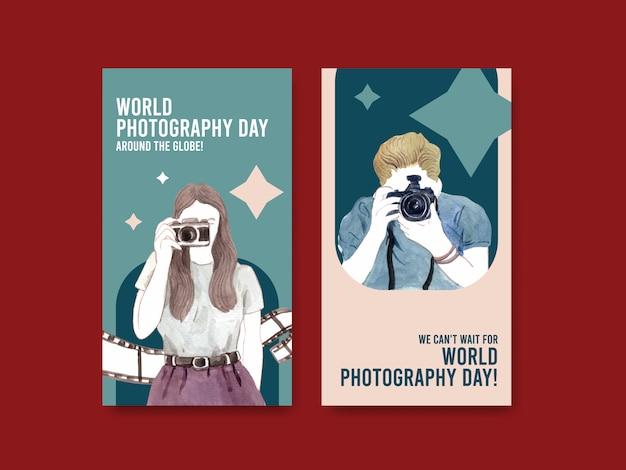 Modello di progettazione instagram con giornata mondiale della fotografia per i social media e il marketing online Vettore gratuito