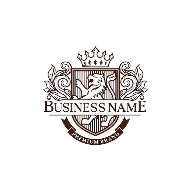 Modello di progettazione logo araldico leoni di lusso Vettore Premium