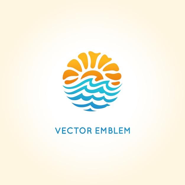 Modello di progettazione logo astratto di vettore - sole e mare Vettore Premium