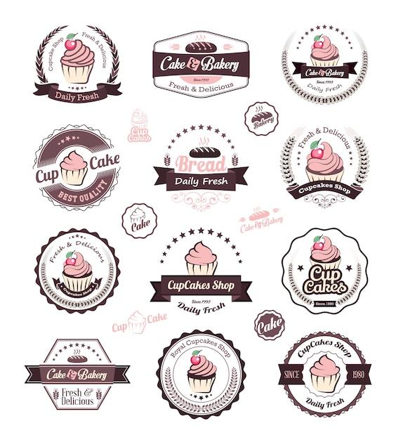 Modello di progettazione logo cupcake e panetteria Vettore Premium