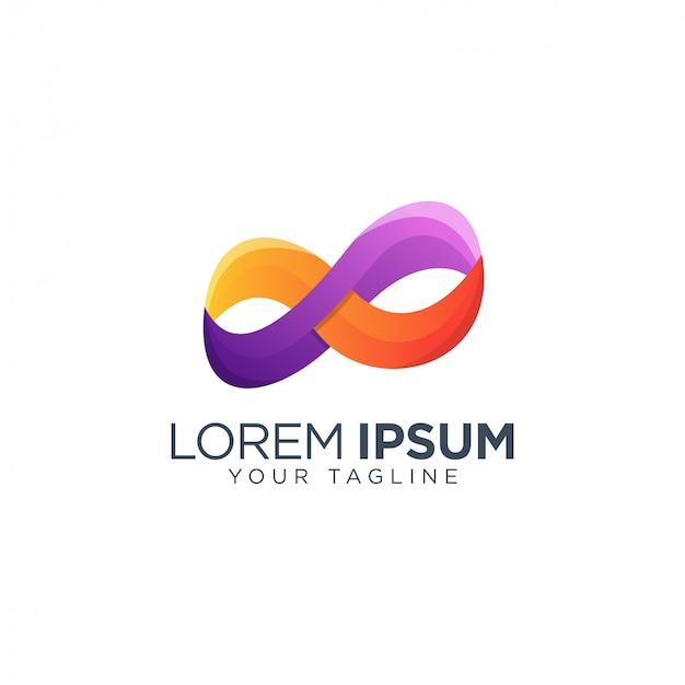Modello di progettazione logo infinito colorato Vettore Premium