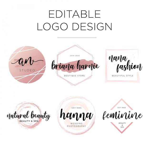 Modello di progettazione logo modificabile femminile Vettore Premium
