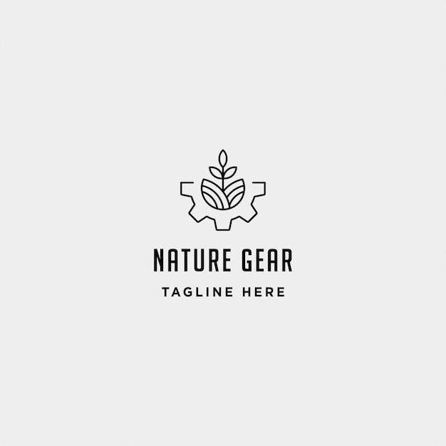 Modello di progettazione logo natura ingranaggio Vettore Premium