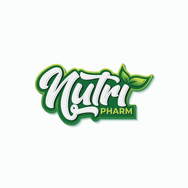 Modello di progettazione logo tipografia farmacia nutrizione Vettore Premium