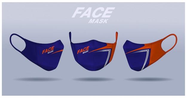 Modello di progettazione maschera facciale, protezione dalla polvere e respirazione respiratoria medica. Vettore Premium