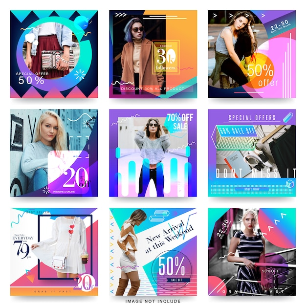 Modello di progettazione moderna di media sociali di vendita di moda Vettore Premium