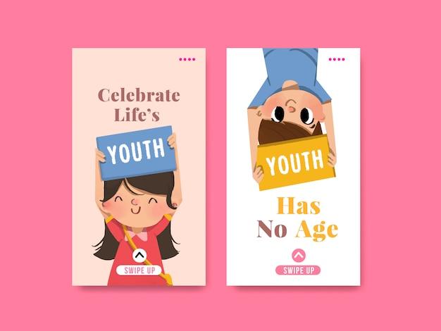 Modello di progettazione per la giornata della gioventù per la giornata internazionale della gioventù, social media, acquerello Vettore gratuito