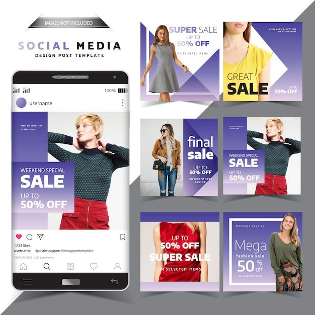 Modello di progettazione post social media vendita speciale Vettore Premium