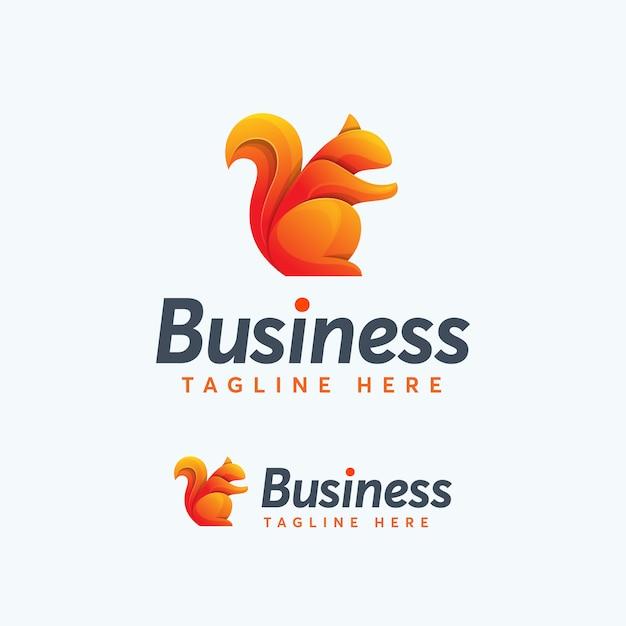 Modello di progettazione premium logo scoiattolo moderno colorato Vettore Premium