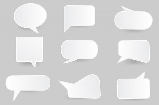 Modello di progettazione taglio carta bolla di discorso. Vettore Premium