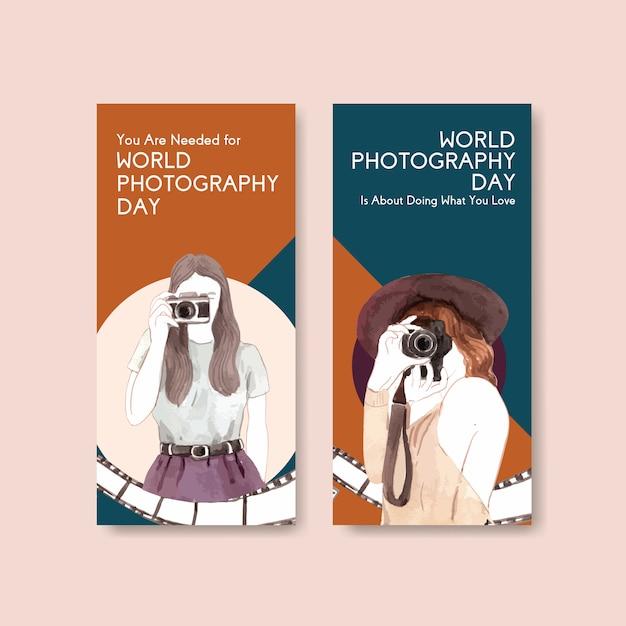 Modello di progettazione volantino con giornata mondiale della fotografia per pubblicità e marketing Vettore gratuito