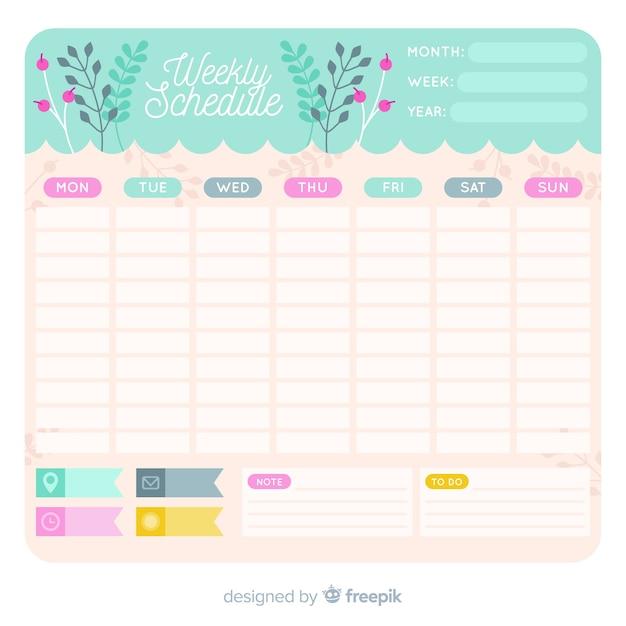Modello di programma settimanale adorabile con stile floreale Vettore gratuito