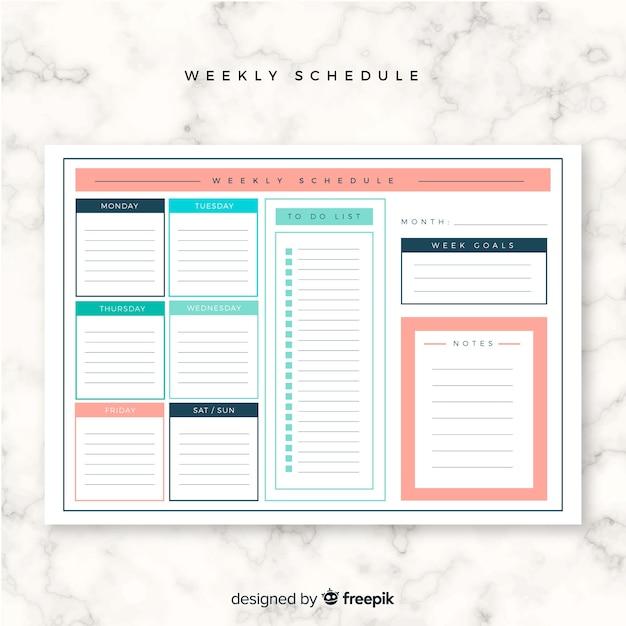 Modello di programma settimanale colorato con design piatto Vettore gratuito