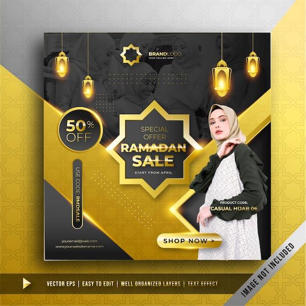 Modello di promozione di lusso in oro ramadan banner quadrato promozione Vettore gratuito