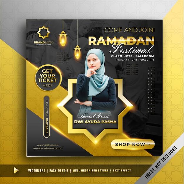 Modello di promozione di lusso in oro ramadan festival square banner Vettore gratuito